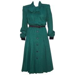 1980's Valentino 'Miss V' Black & Green Houndstooth Wool Dress