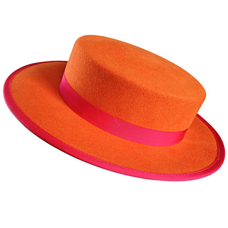1960s Tina Too Bollman Neon Orange + Hot Pink Wool Doeskin Felt Vintage 60s  Hat For dd9f1d826194