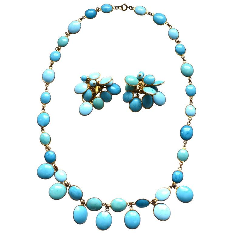 Jacques Fath Couture Turquoise Gripoix Necklace and Earrings. 1