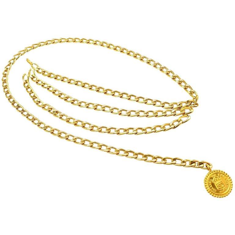 Chanel Vintage Gold Multi Strand Link Medallion Charm Waist Belt 1