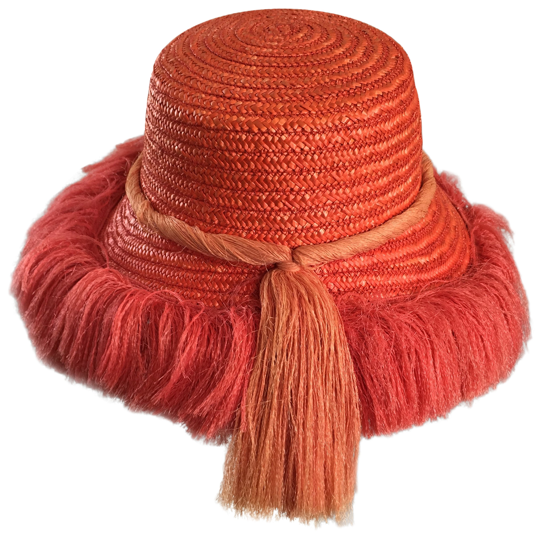 8c293138939 1960s Rare Italian Coral Orange and Pink Vintage Raffia Straw Fringe 60s  Sun Hat at 1stdibs