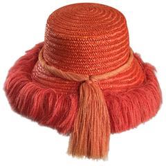 1960s Rare Italian Coral Orange and Pink Vintage Raffia Straw Fringe 60s Sun Hat