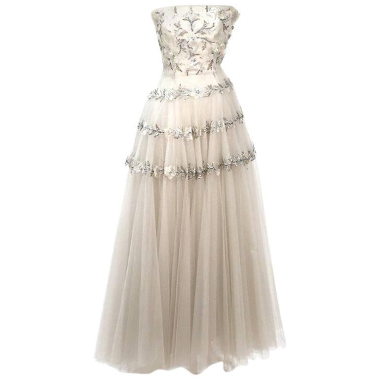 Jeanne Paquin Beaded Layered Gown circa 1950s