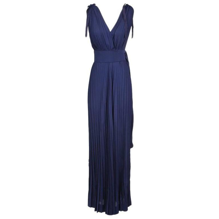 Madame Gres Accordion Pleated Goddess Gown 1960s