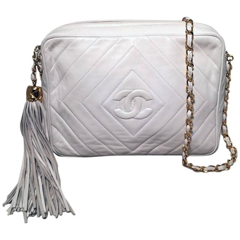 Chanel Vintage White Leather Tassel Detail Shoulder Bag