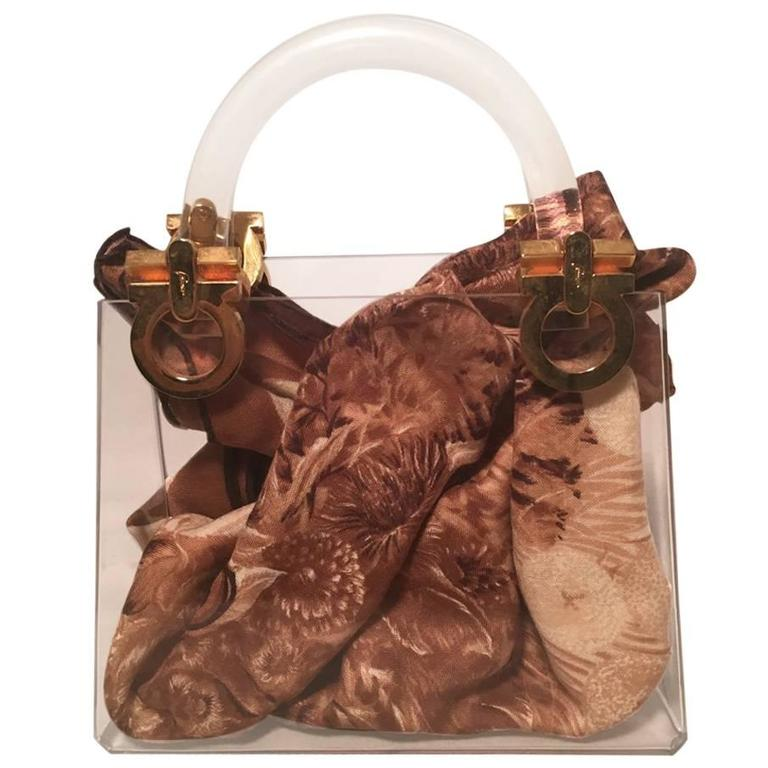 RARE Vintage Salvatore Ferragamo Clear Box Handbag with Scarf For Sale