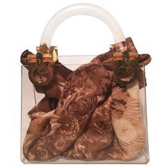 RARE Vintage Salvatore Ferragamo Clear Box Handbag with Scarf