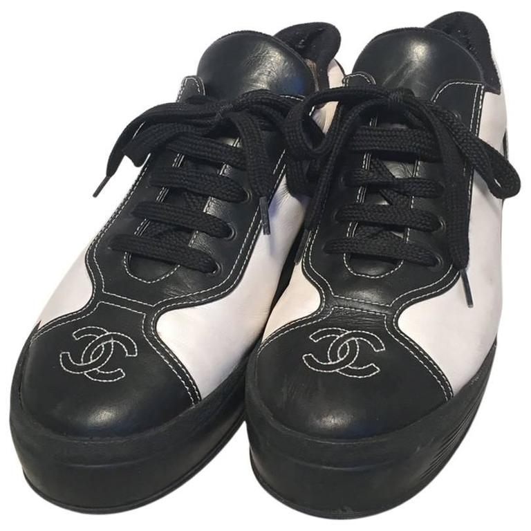 Chanel Black and White Leather Women's Sneakers, Size 40 1
