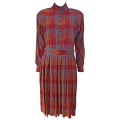 late 1970's Guy Laroche Belted Fall Houndstooth Silk Dress