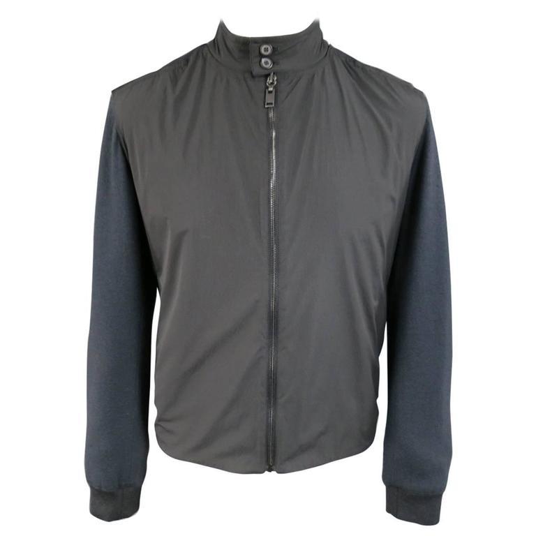 Men's LANVIN Jacket - 36 Charcoal Wool Windbreaker Front High Collar