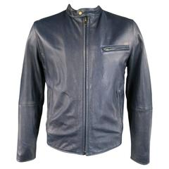 Men's LEVI'S MADE & CRAFTED 42 Navy Leather Motorcycle Jacket