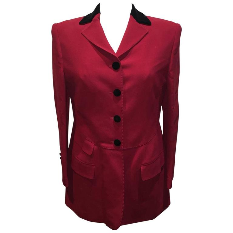 Moschino Couture Vintage Black and Red Women's Blazer Size 12 For Sale