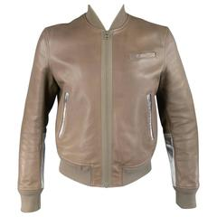 Men's ACNE 42 Taupe & Metallic Silver Leather Bomber Jacket