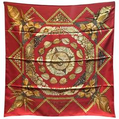 Hermes Rocaille Silk Scarf in Red