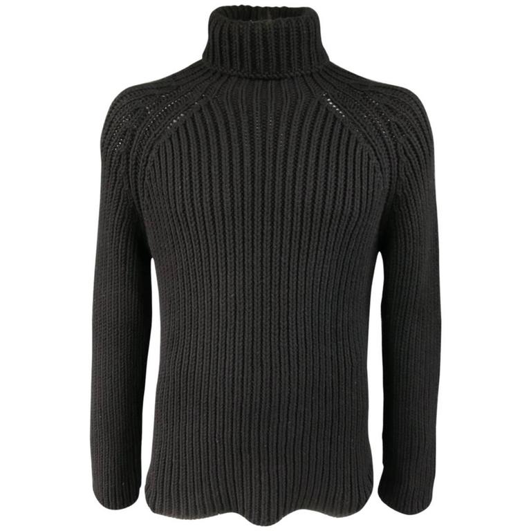 Men's LOUIS VUITTON Size L Black Cashmere Blend Chunky Knit ...