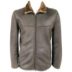 Men's LA MATTA 40 Dark Brown Lambskin Shearling Leather Jacket
