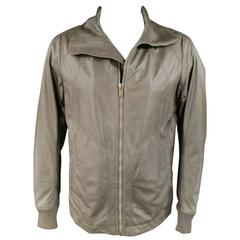 Men's RICK OWENS 46 Muted Taupe Leather Wide Collar Jacket