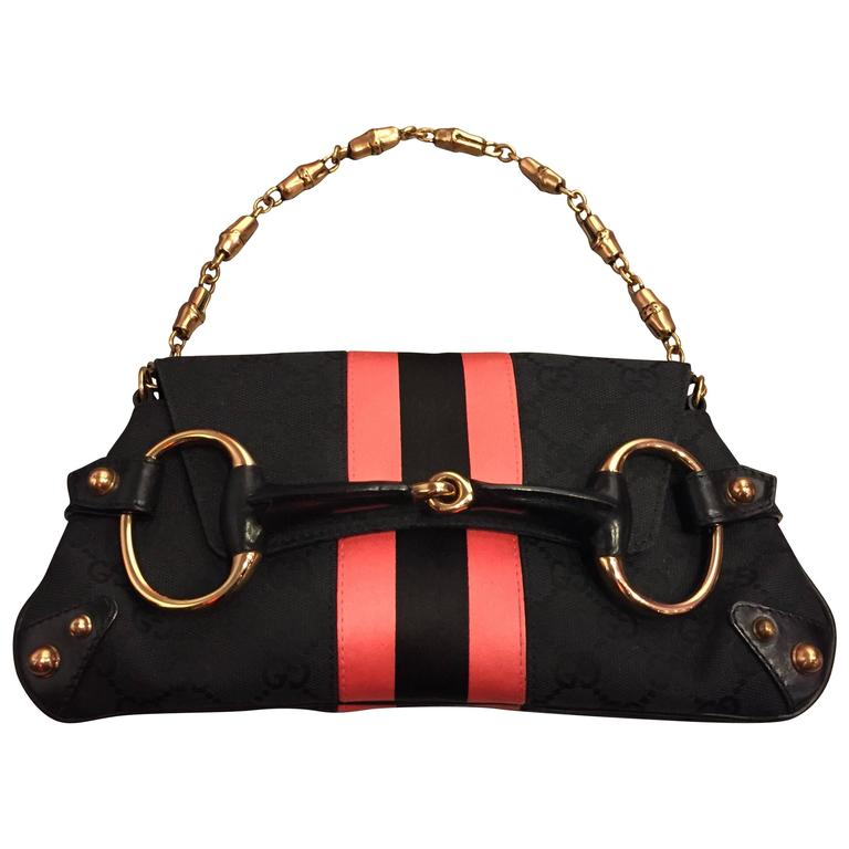 Tom Ford for Gucci Racing Stripe and D-Ring Snaffle Bit Canvas Purse For Sale
