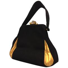 1940s Theodor Black Suede and Gold Gilt Leather Handbag w Lucite Clasp