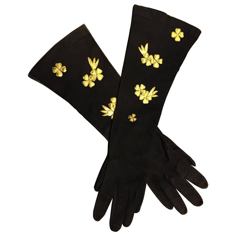 1940s French Suede Evening Gloves w Gold Gilt Leather Flower Appliqués