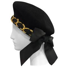 1980s Eric Javitz Mohair Velvet Beret Hat with Gold Cord and Ribbon Bow