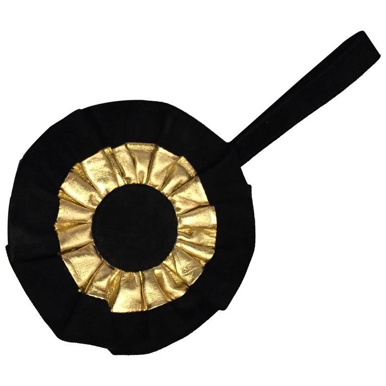 1980s Maud Frizon Gold Leather and Black Suede Wrist Bag in Cockade Design