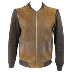 Men's MAISON MARTIN MARGIELA S Brown Leather & Wool Bomber Jacket
