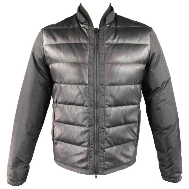 c8b57037161c4 Men s GUCCI 38 Black Leather and Nylon Quilted Down Puffer Jacket at ...