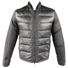 Men's GUCCI 38 Black Leather & Nylon Quilted Down Puffer Jacket