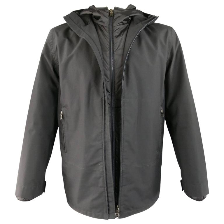 Men's PRADA 40 Black Nylon Double Layered Hooded Rain Jacket at ...