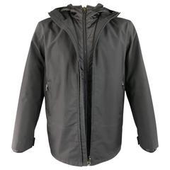 Men's PRADA 40 Black Nylon Double Layered Hooded Rain Jacket