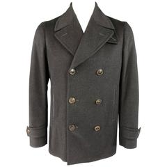 Men's GUCCI Size 40 Charcoal Soft Brushed Wool Peacoat