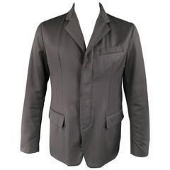 Men's PRADA 42 Black Waterproof Twil & Leather Hidden Placket Notch Lapel Jacket