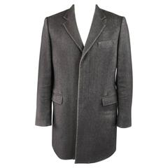 Men's MAISON MARTIN MARGIELA 40 Black Textured Wool Blend Hidden Placket Coat