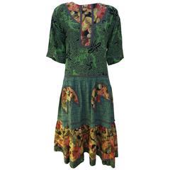 1980's Koos Van den Akker Green Gingham/Floral Western Style Dress