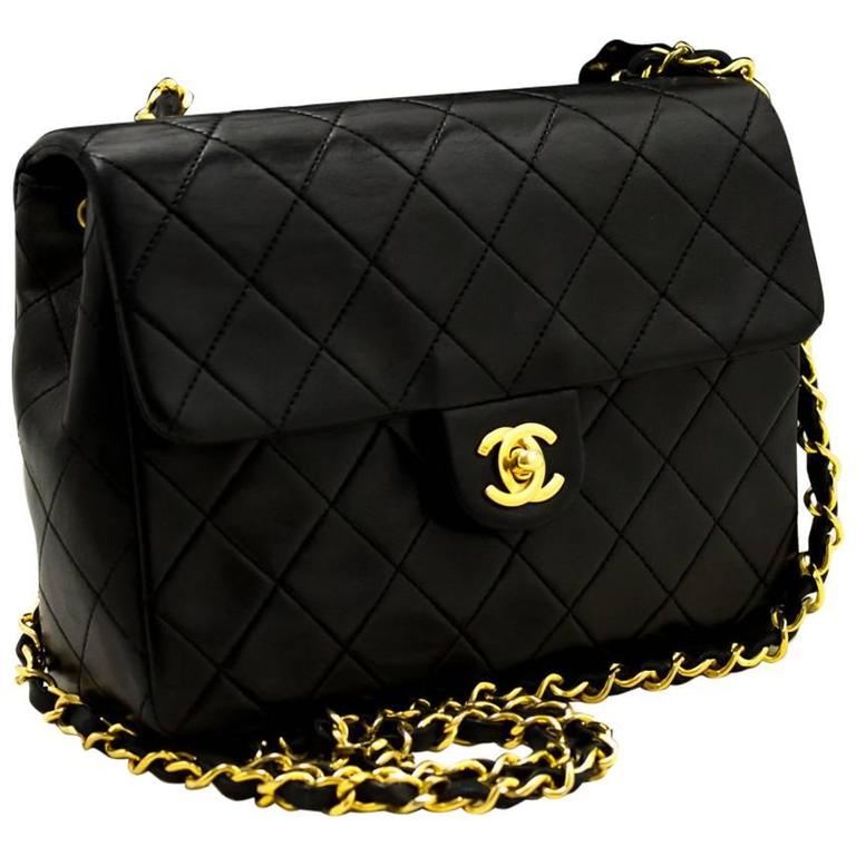 CHANEL Mini Small Chain Shoulder Bag Crossbody Black Quilted Flap  1