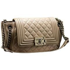 CHANEL Boy Bag Never Used Chain Shoulder Beige Silver Quilted Flap