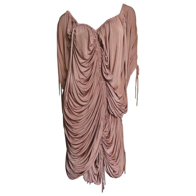 1990s Dolce & Gabbana Drawstring Drape Dress