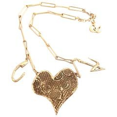 1990s Christian Lacroix Gilt Heart Pendant Necklace w/Signature Charms