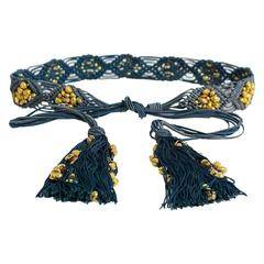 Yves Saint Laurent YSL Vintage Passementerie Gold Nugget Beads Tassel Belt