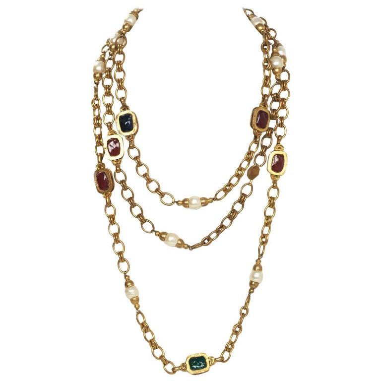 Chanel 1984 Vintage Chain Link & Gripoix Long Necklace For Sale