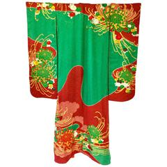 Vintage Japanese Red and Green SHibori Dye Uchikake Kimono with Gold Chrysanthem