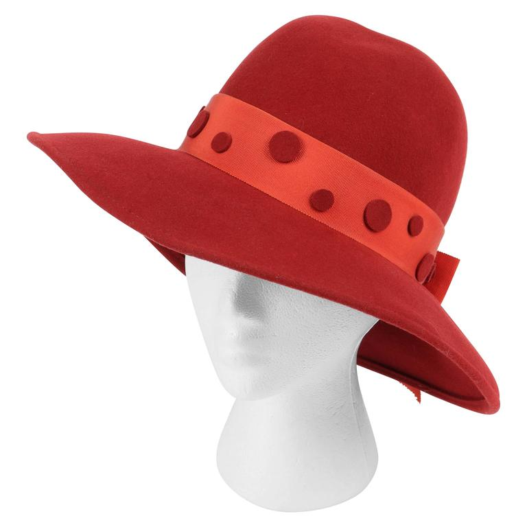 PIERRE CARDIN c.1960 s Red Wool Felt Polkadot Bow Wide Brim Mod Fedora Hat  For 94db6145568