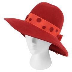 PIERRE CARDIN c.1960's Red Wool Felt Polkadot Bow Wide Brim Mod Fedora Hat