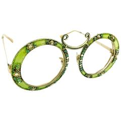 Christian Dior Gold Filled Green Enamel Round Eye Sunglasses Frame, 1960s
