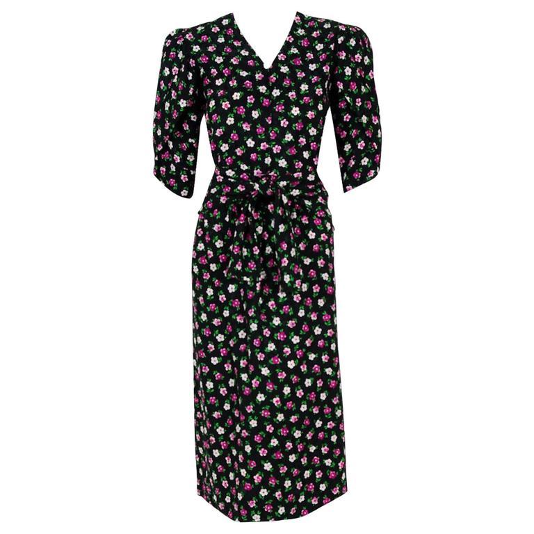 1984 Givenchy Demi-Couture Floral Print Silk Petal Sleeve Sash Dress Ensemble