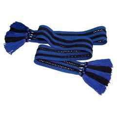 Vintage Yves Saint Laurent Passementerie  Saphire Blue and Black Tassel Belt