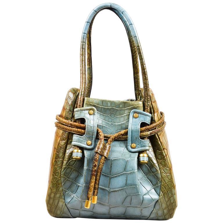 Salvatore Ferragamo Olive Green Light Teal Alligator GHW Bucket Bag 1