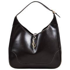 """Vintage Hermes Dark Brown Leather """"Trim I"""" Shoulder Bag"""