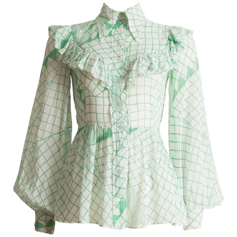 Ossie Clark voile blouse with Celia Birtwell print, circa 1972 1